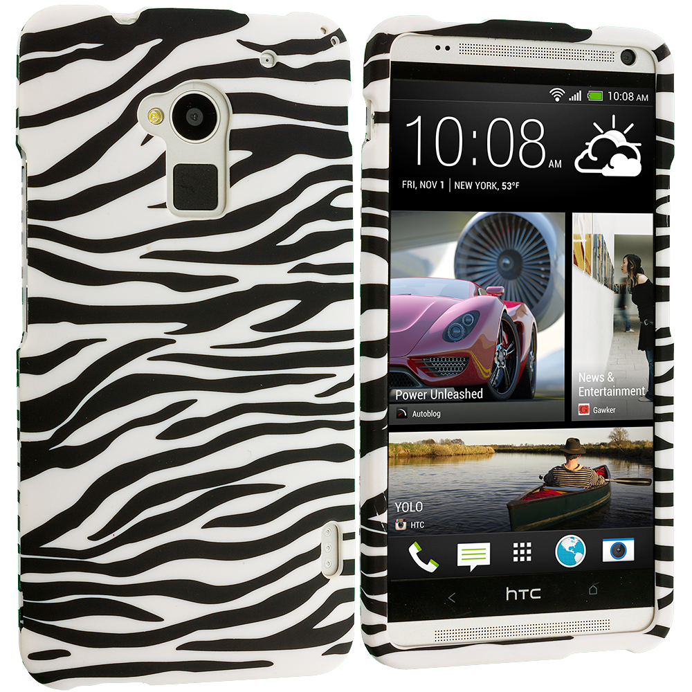 HTC One Max Black / White Zebra Hard Rubberized Design Case Cover