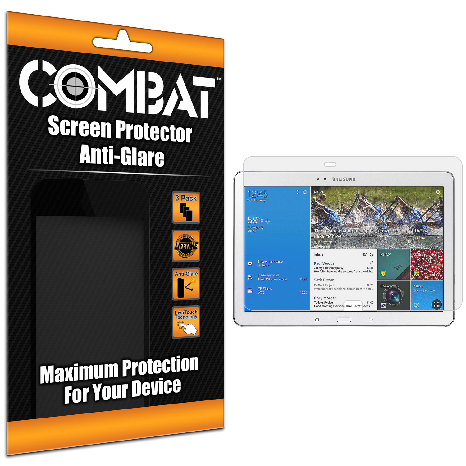 Samsung Galaxy Tab PRO 10.1 Combat 3 Pack Anti-Glare Matte Screen Protector