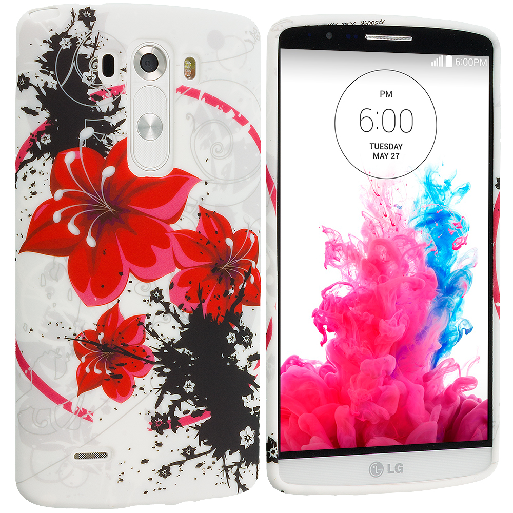 LG G3 Red Flower TPU Design Soft Case Cover