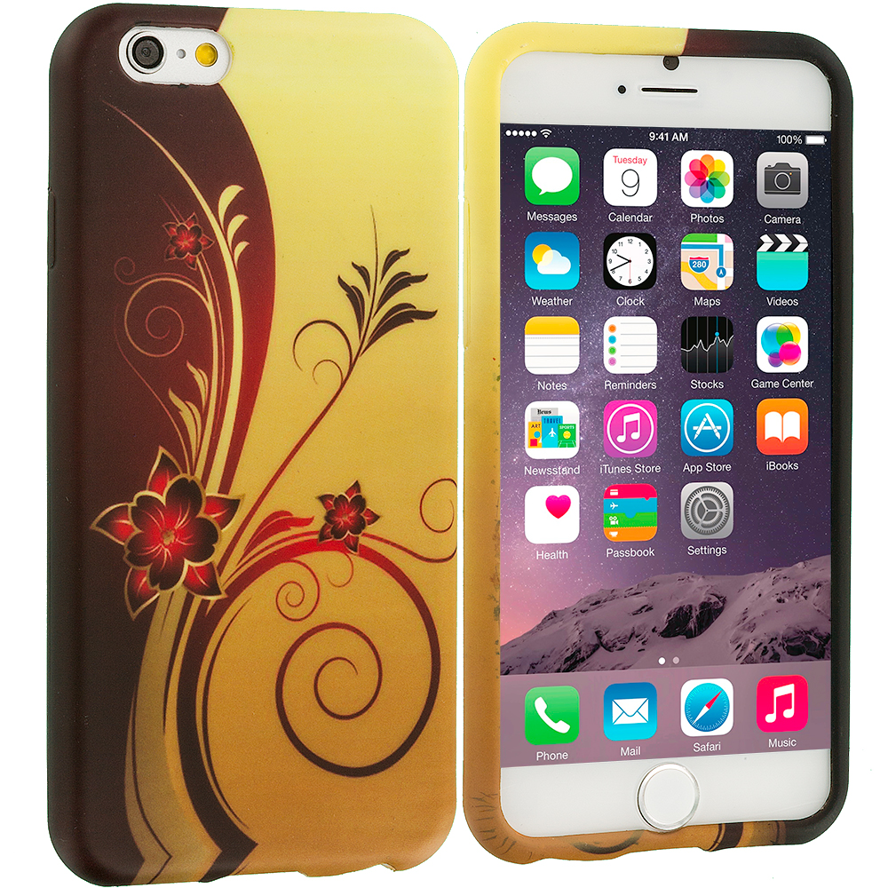 Apple iPhone 6 6S (4.7) Red Golden Flower TPU Design Soft Case Cover