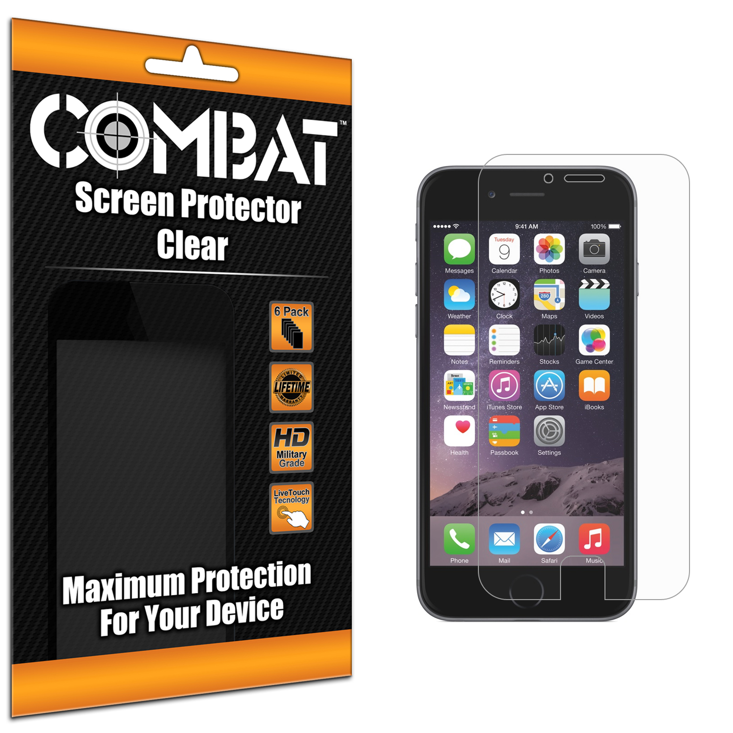 Apple iPhone 6 Plus 6S Plus (5.5) Combat 6 Pack HD Clear Screen Protector