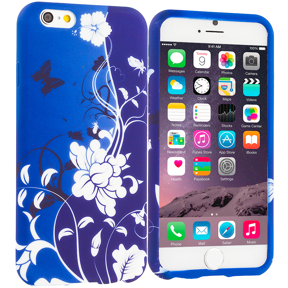 Apple iPhone 6 Plus 6S Plus (5.5) Blue White Flower Butterfly TPU Design Soft Rubber Case Cover