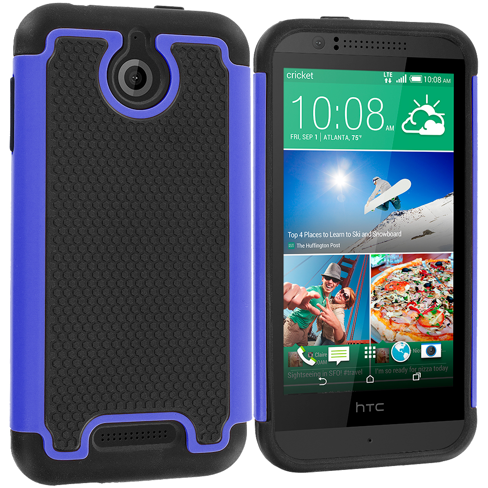 HTC Desire 510 Black / Blue Hybrid Rugged Grip Shockproof Case Cover