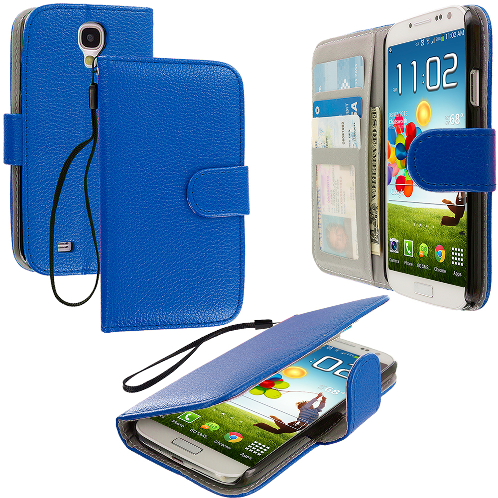 Samsung Galaxy S4 Blue Leather Wallet Pouch Case Cover with Slots