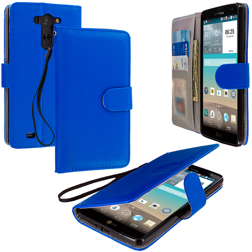 LG G Vista Blue Leather Wallet Pouch Case Cover with Slots