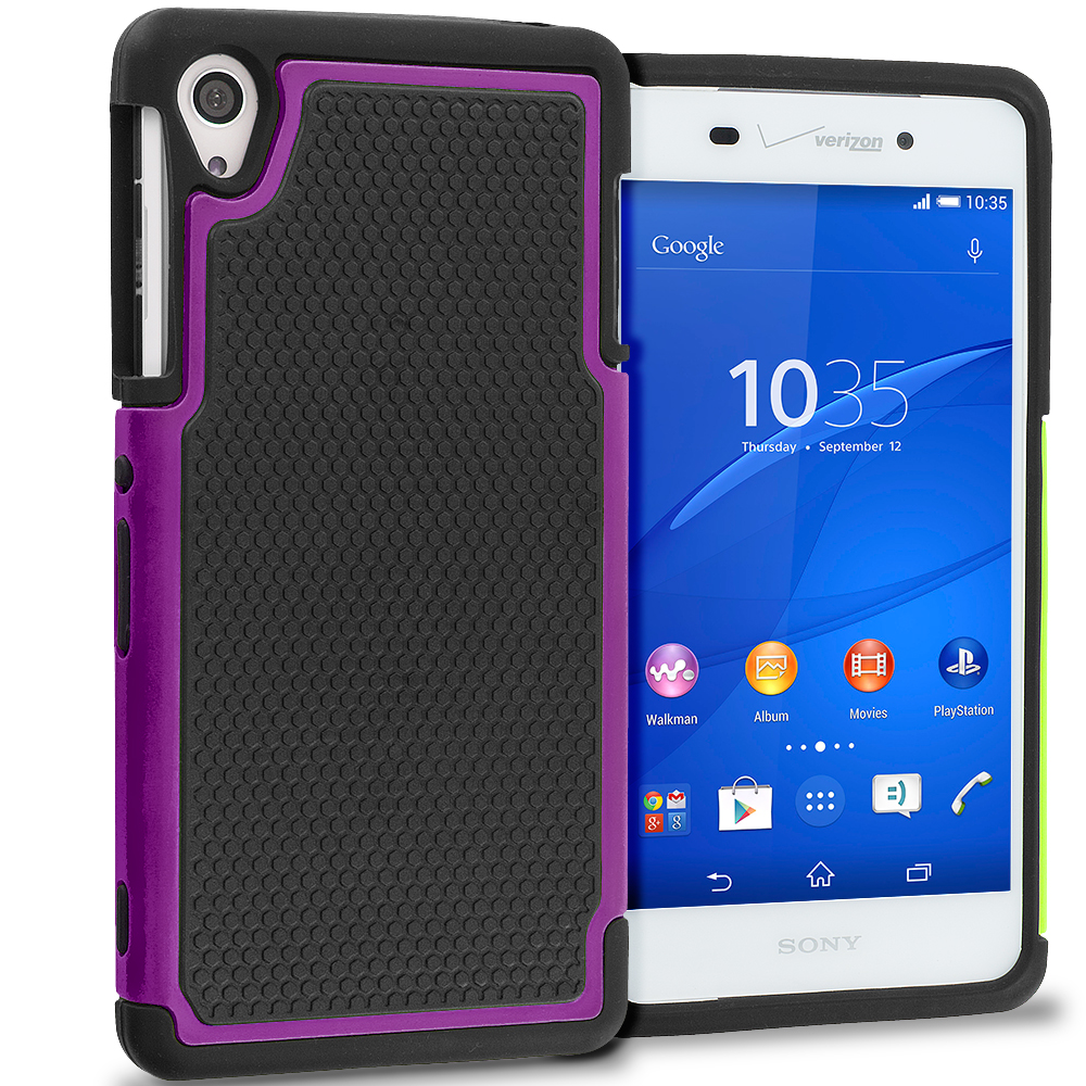 Sony Xperia Z3 Black / Purple Hybrid Rugged Grip Shockproof Case Cover