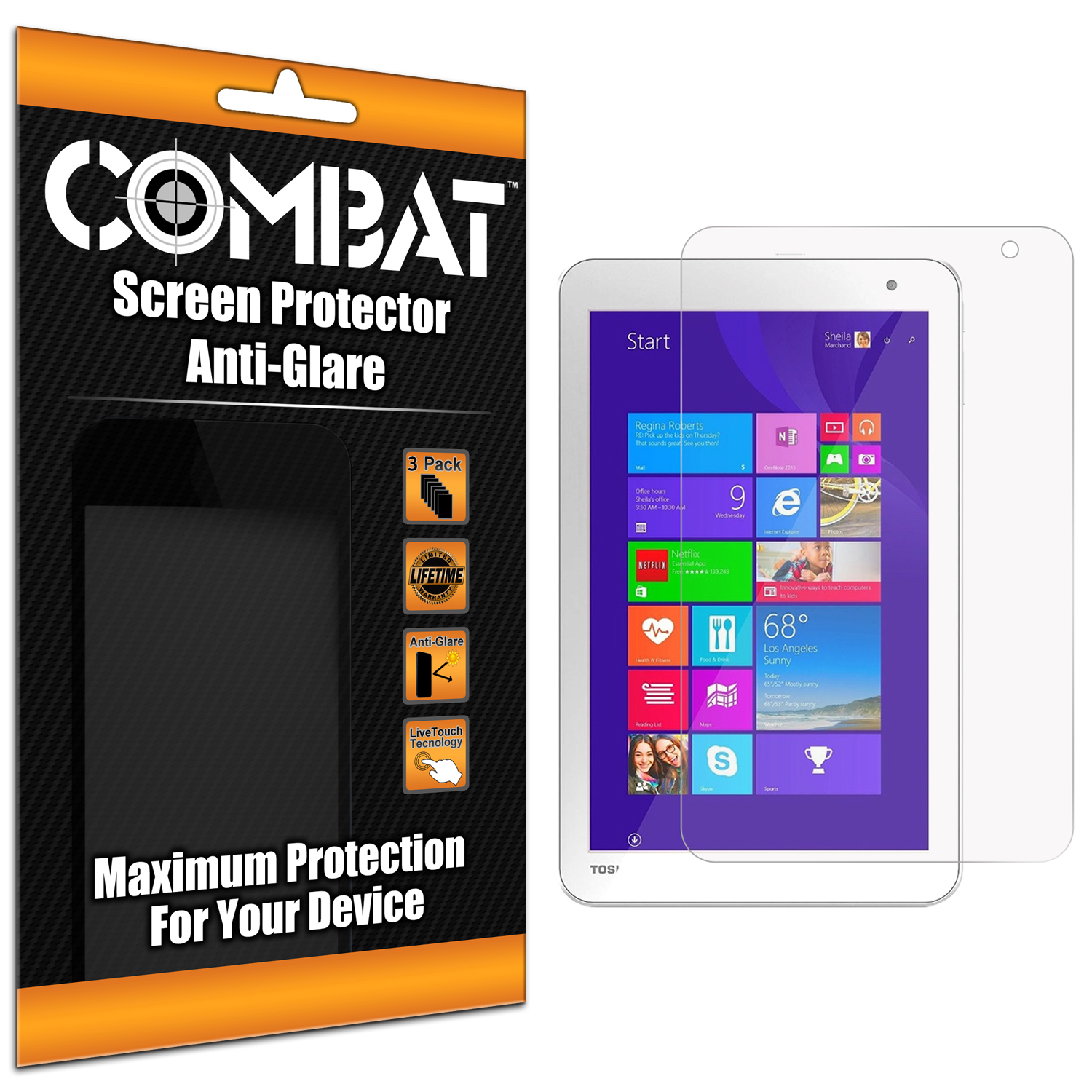Toshiba Encore 2 8.0 Anti Glare Combat 6 Pack Anti-Glare Matte Screen Protector