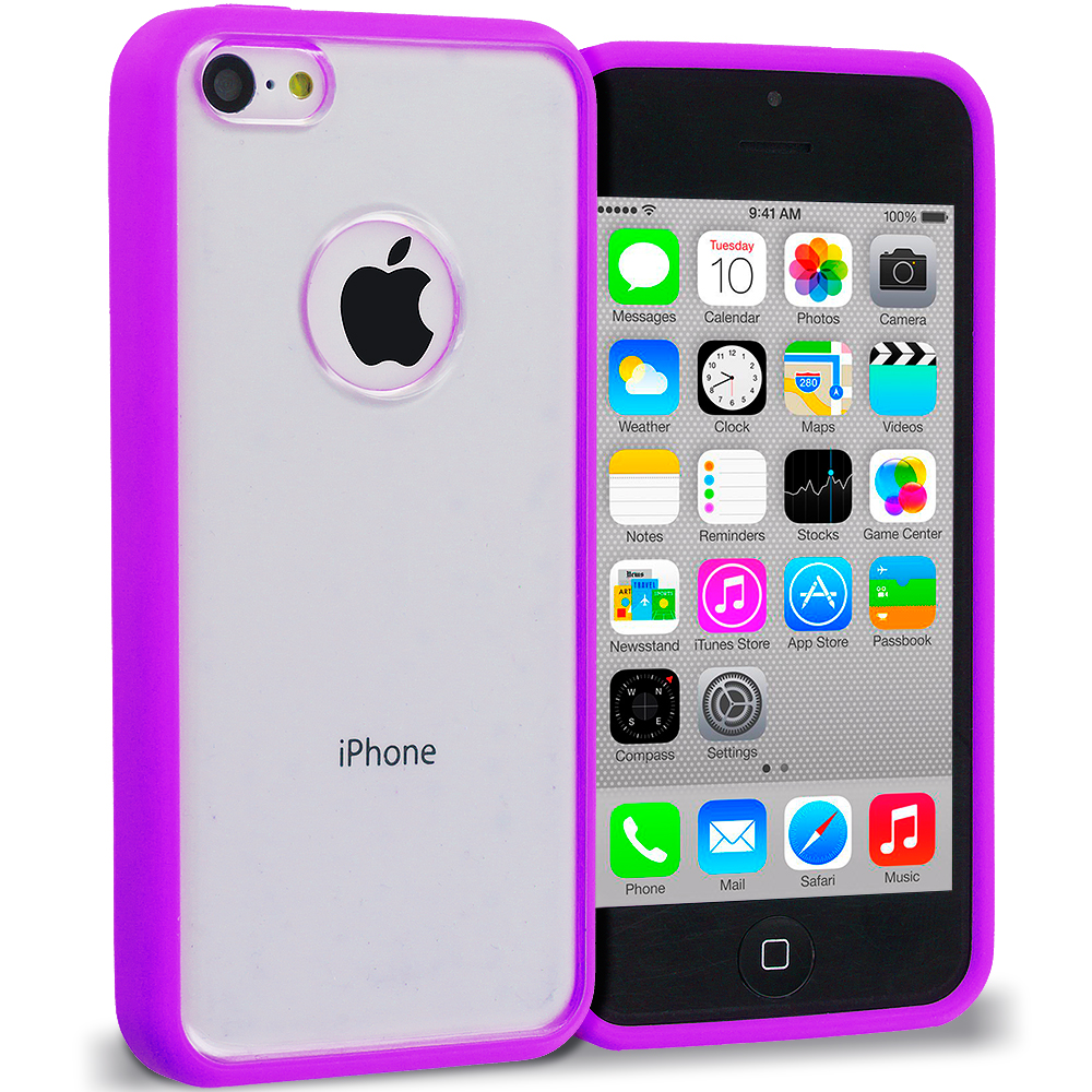 Apple iPhone 5C 2 in 1 Combo Bundle Pack - Neon Green Purple TPU Plastic Hybrid Case Cover : Color Purple