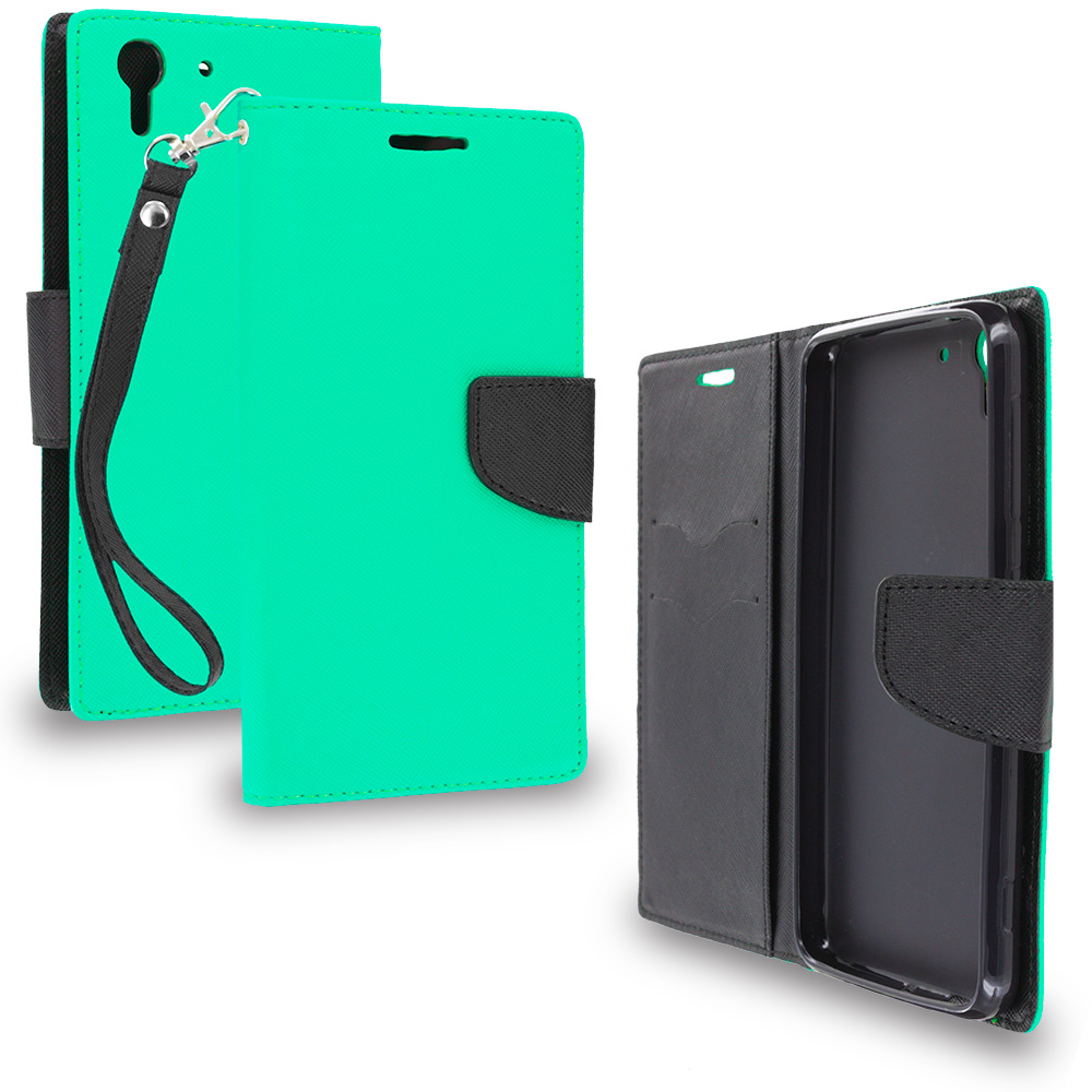 HTC Desire EYE Mint Green / Black Leather Flip Wallet Pouch TPU Case Cover with ID Card Slots