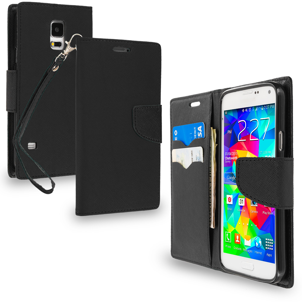 Samsung Galaxy S5 Black / Black Leather Flip Wallet Pouch TPU Case Cover with ID Card Slots