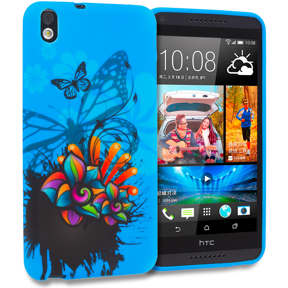 HTC Desire 816 Blue Butterfly Flower TPU Design Soft Rubber Case Cover
