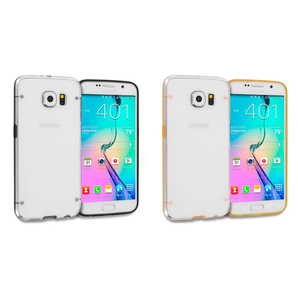 Samsung Galaxy S6 Combo Pack : Black Crystal Robot Hard TPU Case Cover