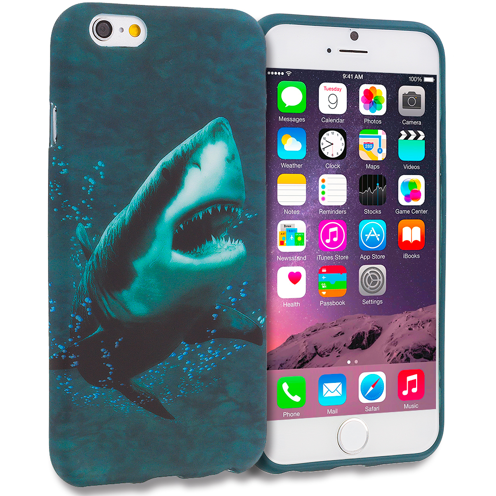 Apple iPhone 6 6S (4.7) 11 in 1 Combo Bundle Pack - TPU Design Soft Rubber Case Cover : Color Shark