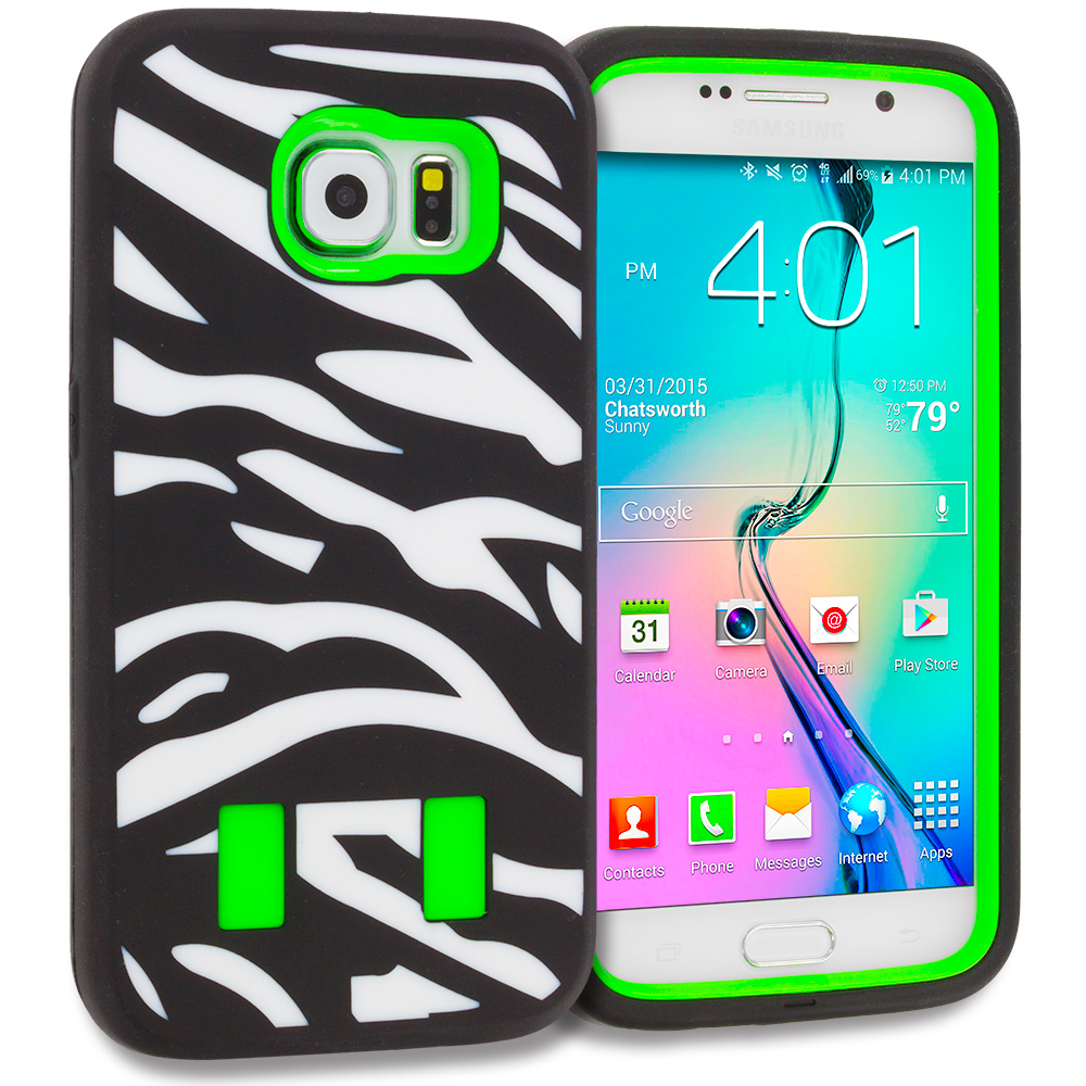Samsung Galaxy S6 Combo Pack : Zebra Hot Pink Hybrid Deluxe Hard/Soft Case Cover : Color Zebra Neon Green