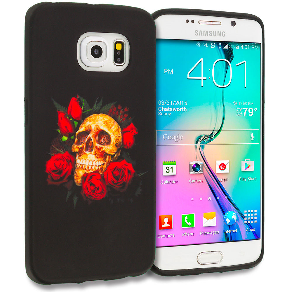 Samsung Galaxy S6 Edge Red Rose Skull TPU Design Soft Rubber Case Cover