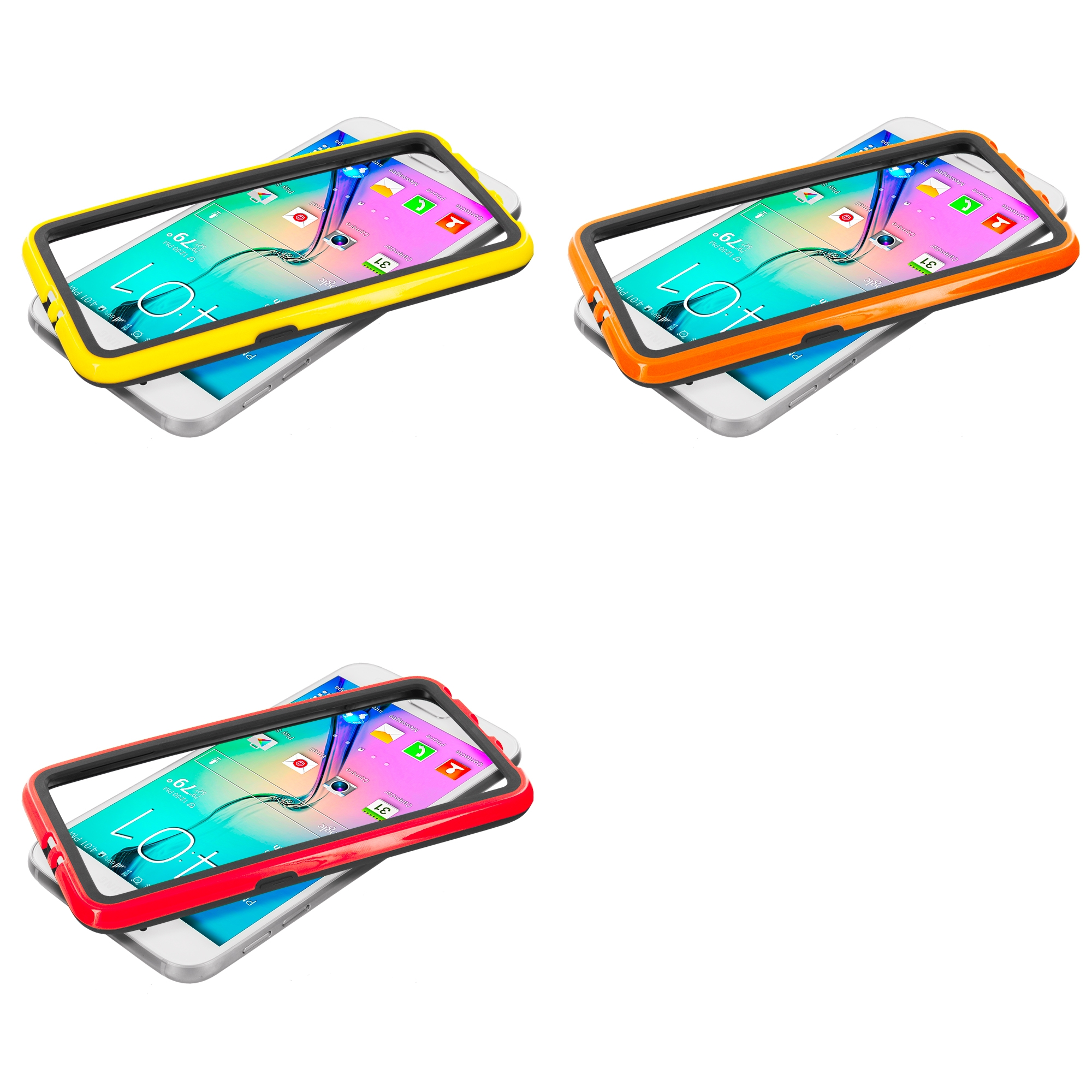 Samsung Galaxy S6 Combo Pack : Black / Yellow TPU Bumper Frame with Metal Buttons
