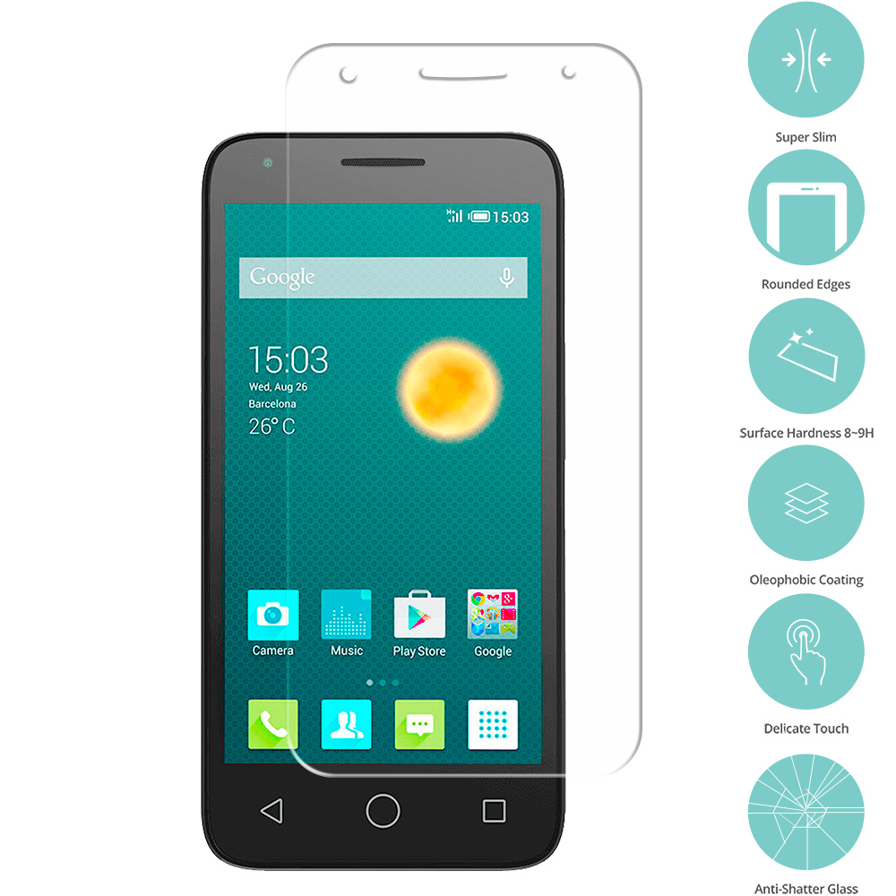 Alcatel Pixi 3 4.5 Clear Tempered Glass Film Screen Protector Clear