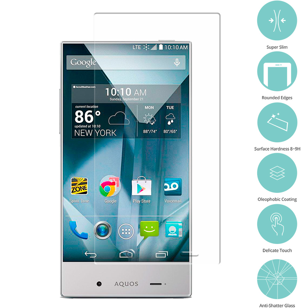 Sharp Aquos Crystal Clear Tempered Glass Film Screen Protector Clear