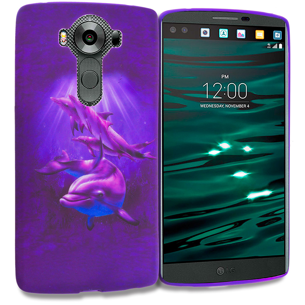 LG V10 Purple Dolphin TPU Design Soft Rubber Case Cover