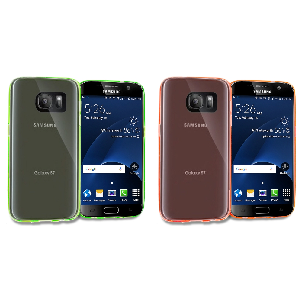 Samsung Galaxy S7 Combo Pack : Neon Green TPU Rubber Skin Case Cover