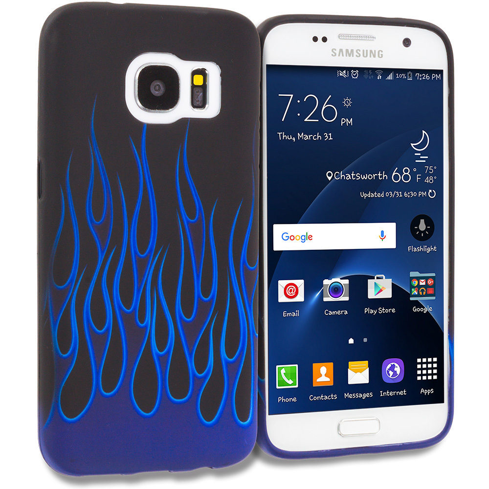 Samsung Galaxy S7 Combo Pack : Blue Skulls TPU Design Soft Rubber Case Cover : Color Blue Black Flame
