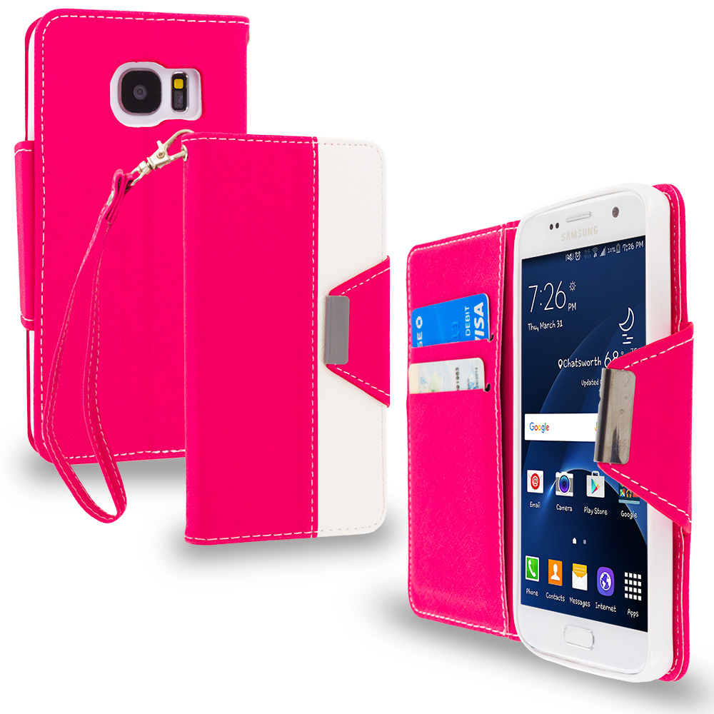 Samsung Galaxy S7 Combo Pack : Hot Pink Wallet Magnetic Metal Flap Case Cover With Card Slots : Color Hot Pink