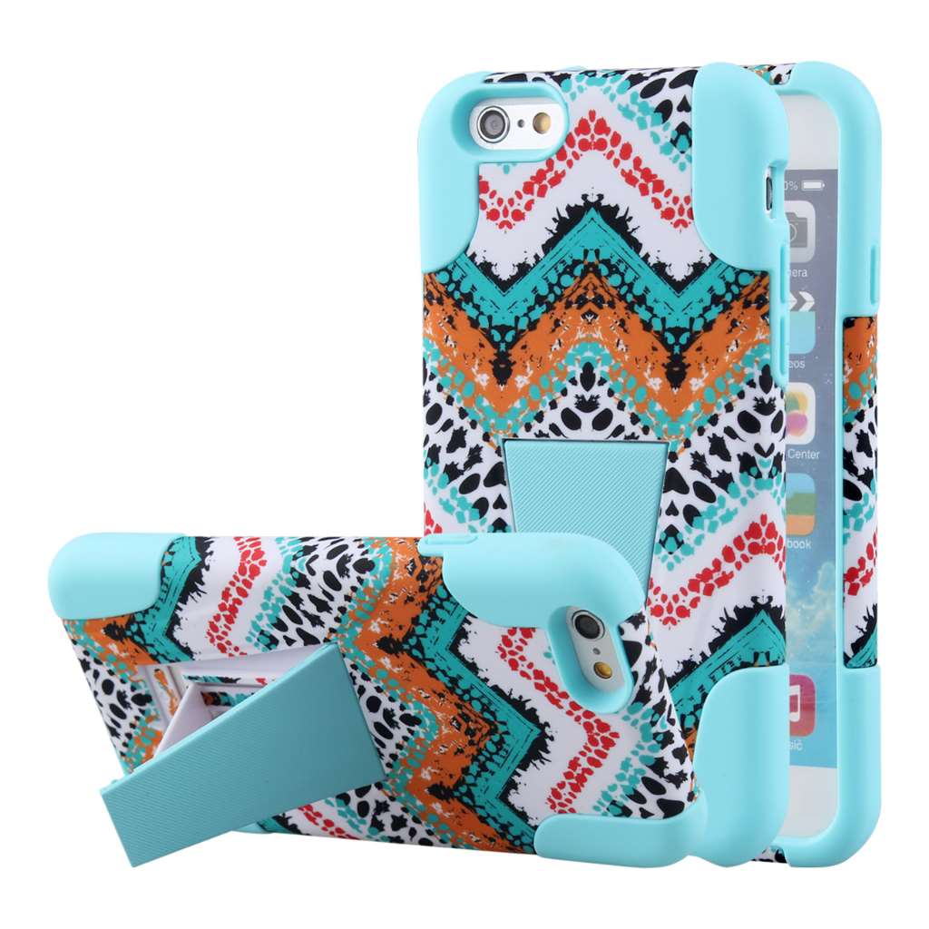 Apple iPhone 6 6S Plus - Aqua Safari MPERO IMPACT X - Kickstand Case Cover