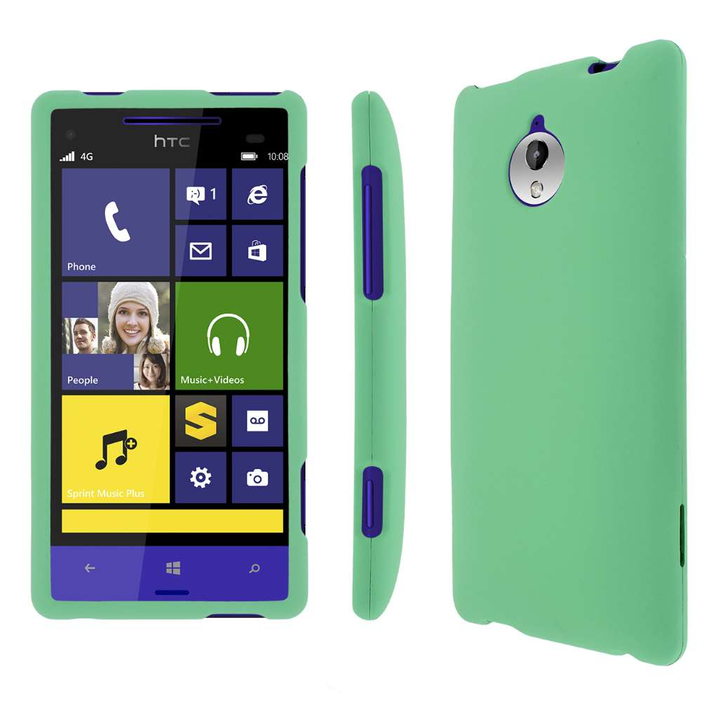 HTC 8XT MPERO Full Protection Hard Rubberized Mint Case Cover