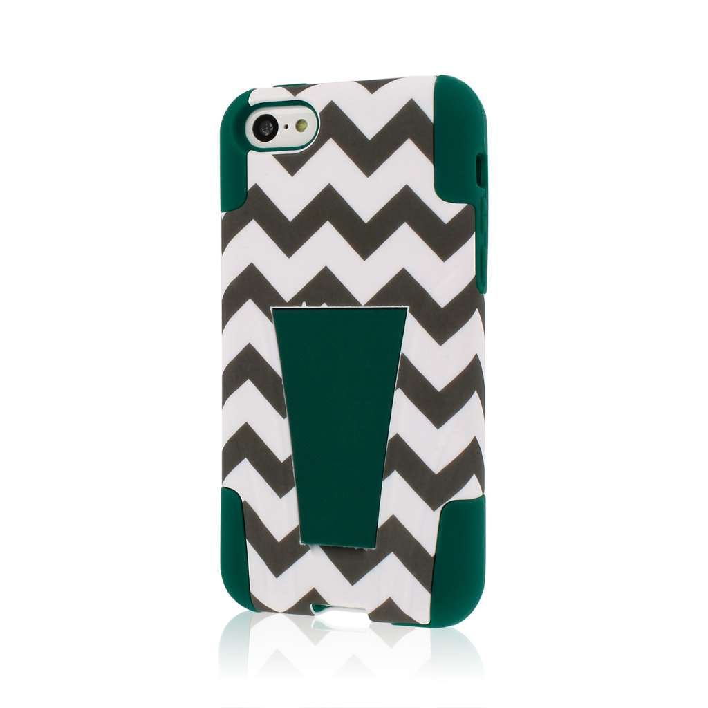 Apple iPhone 5C - Teal Chevron MPERO IMPACT X - Kickstand Case Cover
