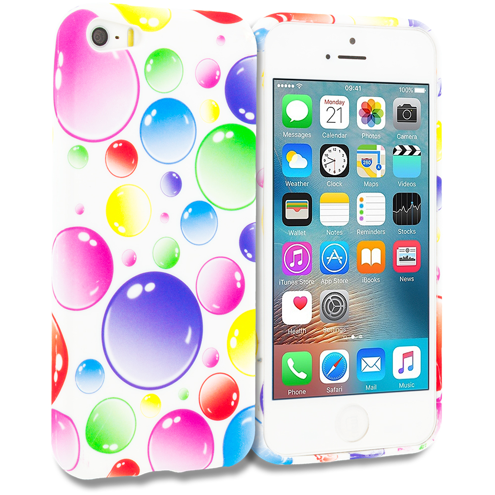 Apple iPhone 5/5S/SE Combo Pack : Bubbles TPU Design Soft Rubber Case Cover : Color Bubbles