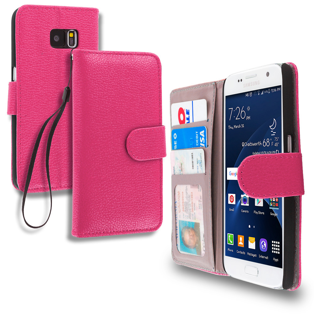 Samsung Galaxy S7 Hot Pink Leather Wallet Pouch Case Cover with Slots
