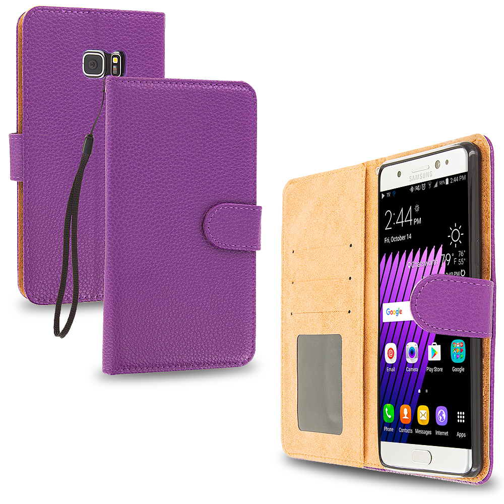 Samsung Galaxy Note 7 Purple Leather Wallet Pouch Case Cover with Slots