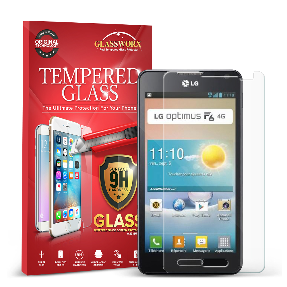 LG Optimus F6 D500 GlassWorX HD Clear Tempered Glass Screen Protector