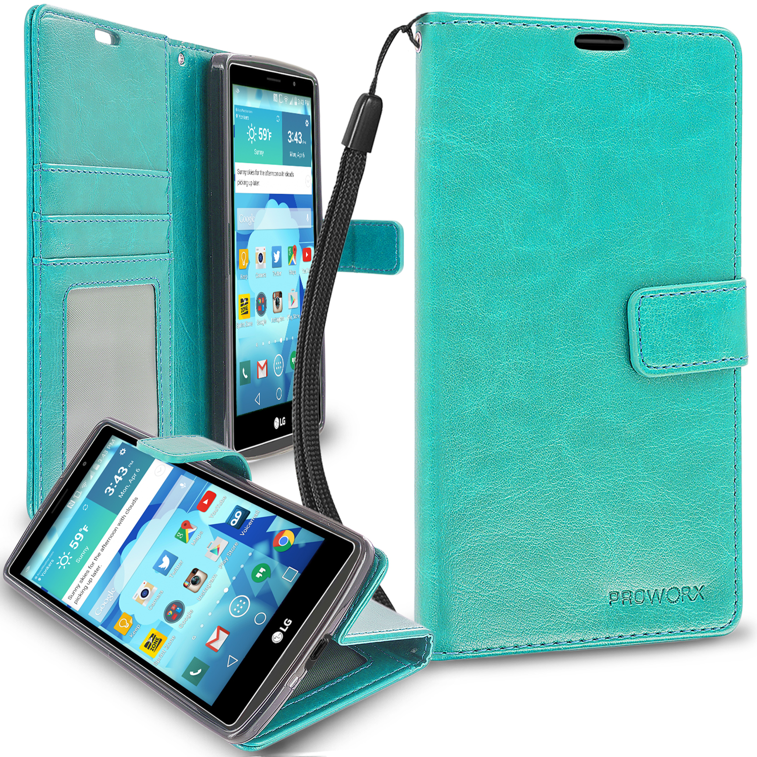 LG G Vista 2 Mint Green ProWorx Wallet Case Luxury PU Leather Case Cover With Card Slots & Stand