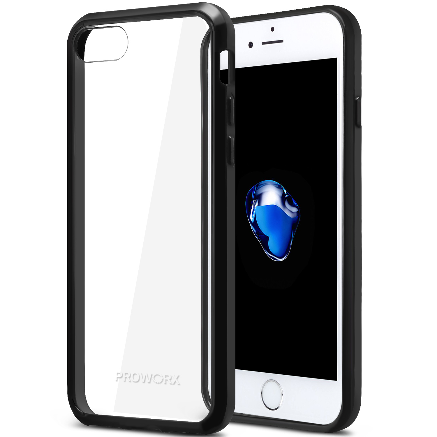 Apple iPhone 6 6S (4.7) Black ProWorx Shock Absorption Case Bumper TPU & Anti-Scratch Clear Back Cover