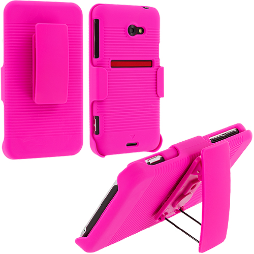 HTC EVO 4G LTE Hot Pink Hard Rubberized Belt Clip Holster Case Cover