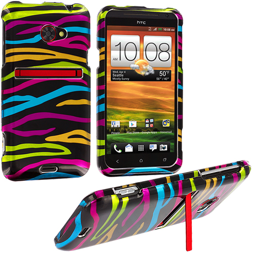 HTC EVO 4G LTE Rainbow Zebra on Black Design Crystal Hard Case Cover