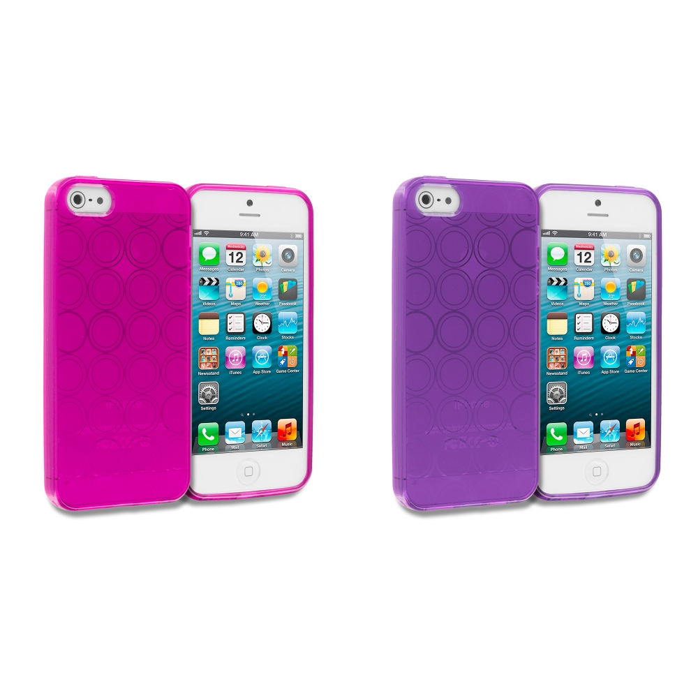 Apple iPhone 5/5S/SE Combo Pack : Hot Pink Circles TPU Rubber Skin Case Cover