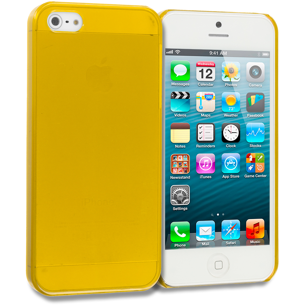 Apple iPhone 5/5S/SE Combo Pack : Baby Blue Crystal Hard Back Cover Case : Color Yellow
