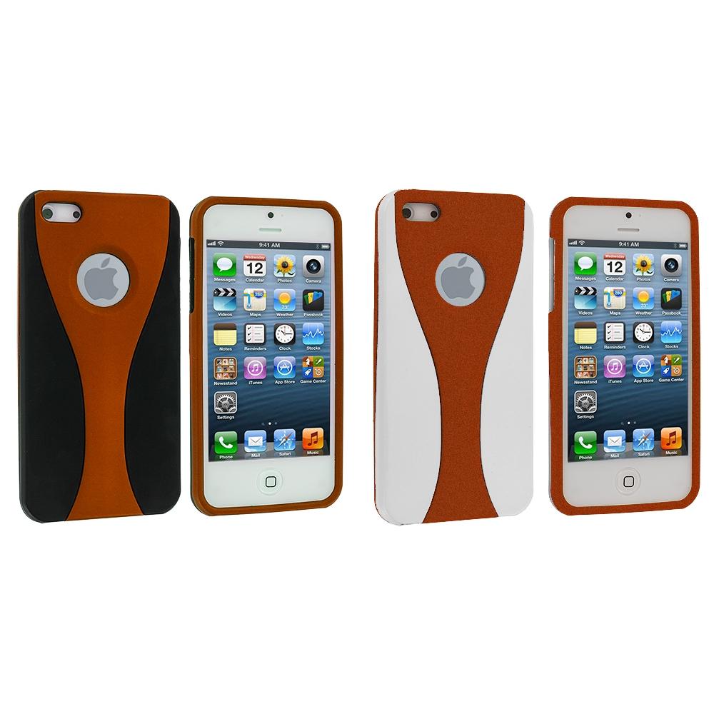 Apple iPhone 5/5S/SE Combo Pack : Black / Orange Hard Rubberized 3-Piece Case Cover
