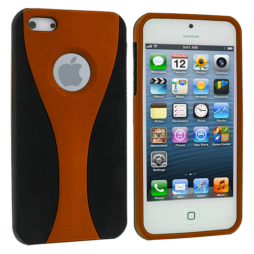Apple iPhone 5/5S/SE Black / Orange Hard Rubberized 3-Piece Case Cover