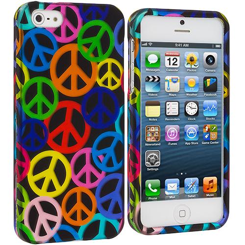 Apple iPhone 5/5S/SE Peace Sign Hard Rubberized Design Case Cover