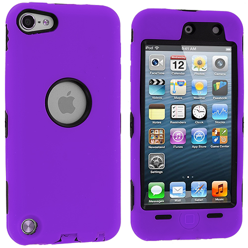 Apple iPod Touch 5th 6th Generation Purple Deluxe Hybrid Deluxe Hard/Soft Case Cover