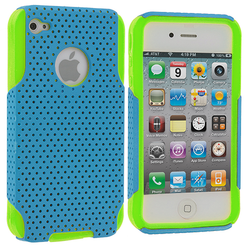Apple iPhone 4 / 4S 2 in 1 Combo Bundle Pack - Neon Green / Baby Blue Red Hybrid Mesh Hard/Soft Case Cover : Color Neon Green / Baby Blue