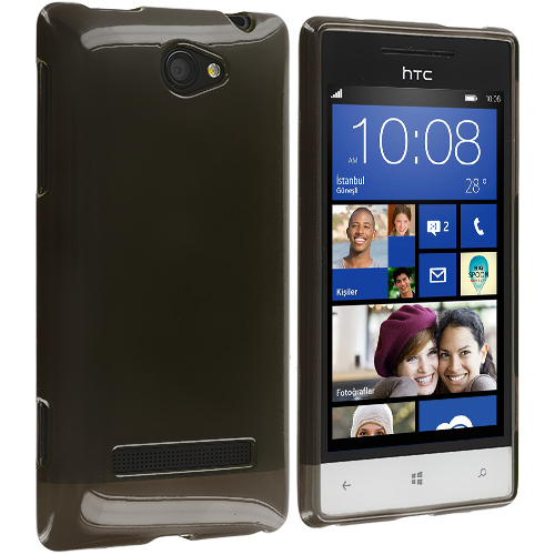 HTC Windows 8S Smoke Plain TPU Rubber Skin Case Cover