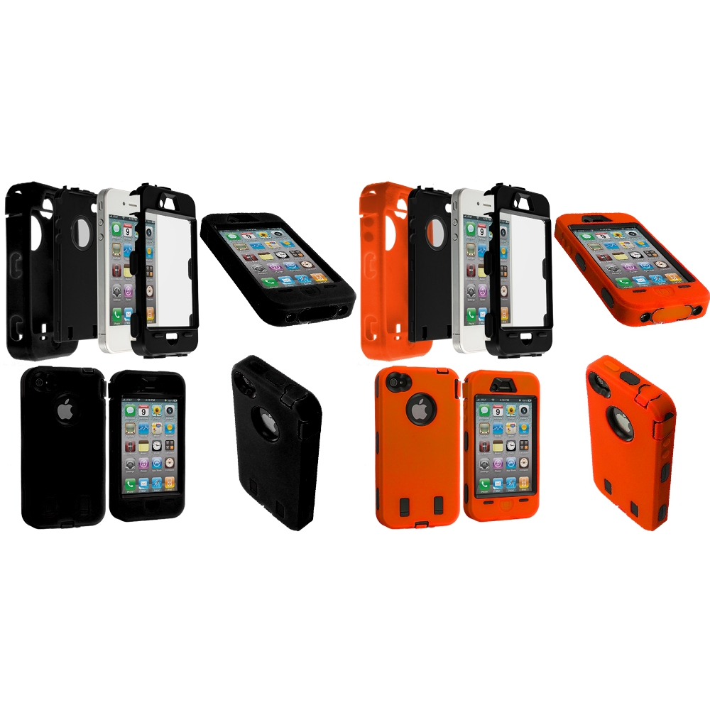 Apple iPhone 4 / 4S 2 in 1 Combo Bundle Pack - Black / Orange+ Protector Hybrid Deluxe Hard/Soft Case Cover