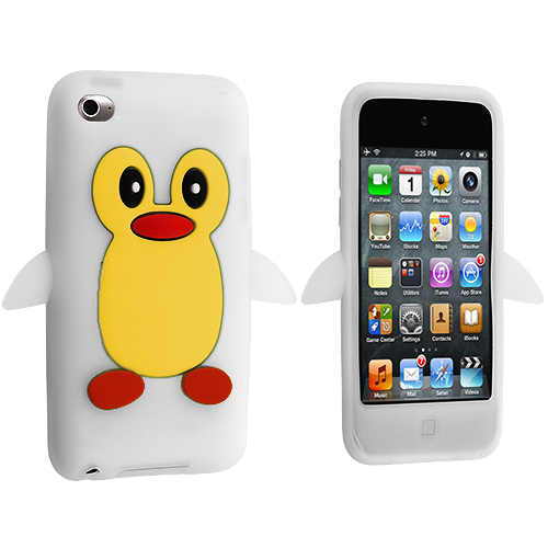 Apple iPod Touch 4th Generation White Penguin Silicone Design Soft Skin Case Cover