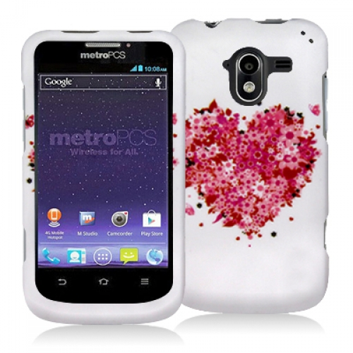 ZTE Avid 4G N9120 Hearts Full of Flowers Hard Rubberized Design Case Cover