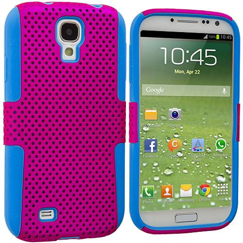 Samsung Galaxy S4 Baby Blue / Hot Pink Hybrid Mesh Hard/Soft Case Cover