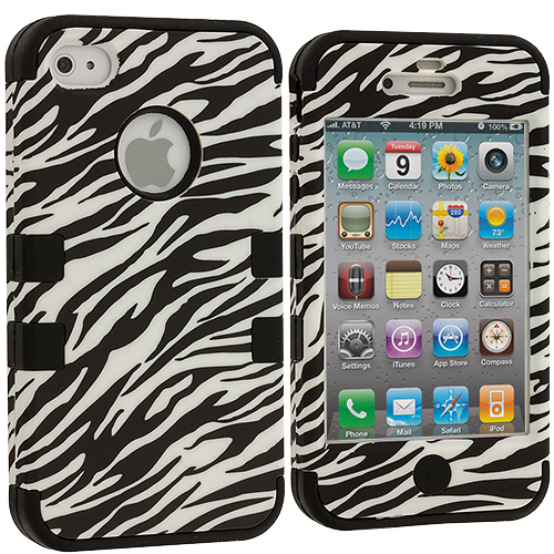 Apple iPhone 4 / 4S Black / Zebra Hybrid Tuff Hard/Soft 3-Piece Case Cover